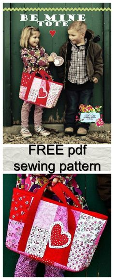 FREE tote bag pdf sewing pattern.   Makes a very sturdy bag for a variety of everyday purposes.