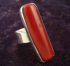 Red Coral and Silver Ring | Mexican Silver Store | Taxco, Mexico |.950 Sterling | $69.95