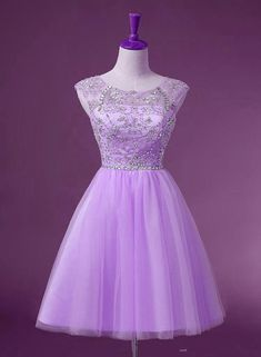 ecfcb2495bd Lavender Tulle Short Knee Length Round Neckline Party Dress