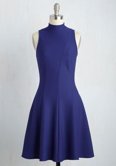 Flirts Like a Charm Dress - Blue, Solid, Work, A-line, Sleeveless, Summer, Knit, Good, Mid-length, Party, Girls Night Out