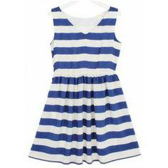 Navy White Striped V Neck Sleeveless Chiffon Dress