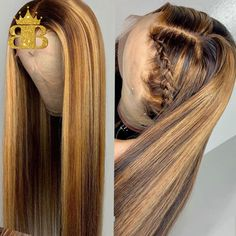 Straight Honey Blond Ombre Color Highlight Lace Front Human Hair Wigs for Women Remy Brazilian Invisible Pre Plucked Best Human Hair Wigs, Cheap Human Hair, Human Hair Lace Wigs, Curly Faux Locs, Curly Bob Wigs, Hairstyles With Bangs, Pretty Hairstyles, Straight Hairstyles, Kinky Straight Wig