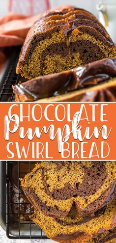 Pumpkin season is the perfect time for Swirled Chocolate Pumpkin Bread! Moist, full of spice, swirled with chocolate, and drizzled with Bourbon Butterscotch Glaze, this is the best mash-up quick bread for fall! Pumpkin Recipes, Fall Recipes, Thanksgiving Recipes, Vegan Recipes, Chocolate Pumpkin Bread, Chocolate Desserts, Quick Bread Recipes, Muffin Recipes, Pumpkin Dessert