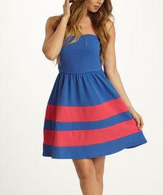 Look what I found on #zulily! Blue & Fuchsia Stripe Strapless Dress by Pinkblush #zulilyfinds