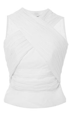 White Satin Criss Crossed Sleeveless Shirt by CARVEN Now Available on Moda Operandi