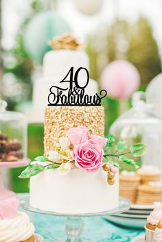 Birthday Cake Topper, 40 and Fabulous Cake Topper, Happy Happy Birthday Topper, Topper for Birthday, Birthday Party 40th Birthday Cake Topper, 40th Cake, Happy 60th Birthday, 40th Birthday Parties, Wedding Cake Toppers, Wedding Cakes, 60th Birthday Ideas For Mom Party, 60th Birthday Party Decorations, Navy Birthday