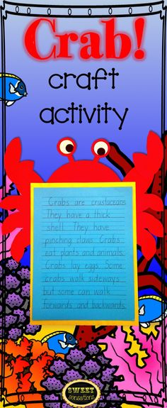 Cute craft activity to make to enhance any unit on crabs, ocean animals and the beach! K-4