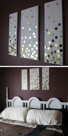 wanddeko selber machen wanddekoration ideen bilder mit goldenen stickern dekorieren