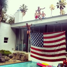 Do something everyday that scares you // #california #summer #pool #party #roofs #palmtrees #america #friends #smiles