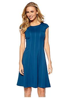 Adrianna Papell Cap-Sleeve Fit and Flare Dress