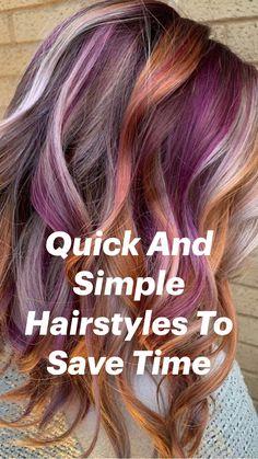 Bob Hair Color, Hair Color Purple, Haircut And Color, Spring Hair Colors, Funky Hair Colors, Unicorn Hair Color, Spring Hairstyles, Easy Hairstyles, Hidden Hair Color
