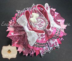 I Rock the Ruffle Butts OTT Hairbow Bow with Glitter Ribbon and Rhinestone Mesh Designed by Enchanted Angels Boutique www.facebook.com/enchantedangelsboutique
