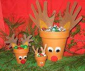 Clay pot reindeer treat holders