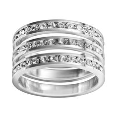 Traditions Sterling Silver Crystal Eternity Ring Set, Women's, Size: