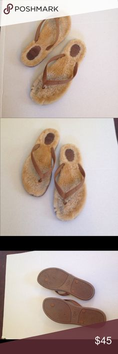 UGG flip flop slippers size 9 UGG flip flop slippers size 9 tan and brown. Good condition UGG Shoes