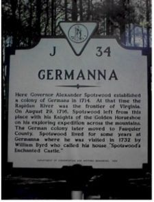 Germanna Colony/Genealogy - In the summer of 1713 my ancestors, Hans Jacob Rector with his wife and son left for the new world with 1714 immigrants from Nassau Siegen, Germany. He then owned 150 acres of land at Germantown, Virginia.