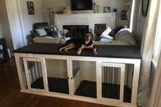 (paid link) DIY Dog box Plans to build Custom Kennel. #diydogcrate Dog Kennel Cover, Diy Dog Kennel, Diy Dog Bed, Kennel Ideas, Dog Kennel Designs, Custom Dog Kennel, Cheap Dog Kennels, Pallet Dog Beds, Dog Bunk Beds