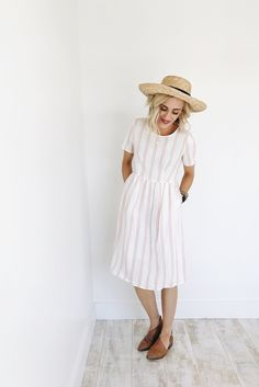 White and Pink Stripe Cotton Dress | ROOLEE