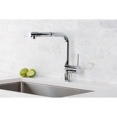 Hahn Silver Brass, Stainless Steel Ultra Modern Duo Single Lever Pull Out Kitchen  Faucet By Hahn