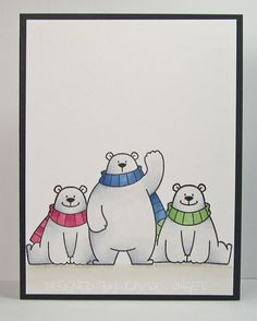 Laurie's Stampin Place: Hi from three bears Christmas Rock, Christmas Cards To Make, Xmas Cards, Christmas Greetings, Holiday Cards, Christmas Crafts, Homemade Christmas, Watercolor Christmas Cards, Christmas Drawing
