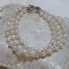 White Freshwater Pearl Triple Bracelet by tbyrddesigns on Etsy, $29.00