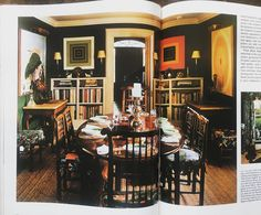 Dining room designed by Mark Hampton. Clarence House chintz and rush matting paired with European antiques and artworks by (L to R) David Hockney, Frank Stella and Kenneth Noland. Evidence of Hampton's brilliance.
