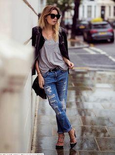 #ripped #jeans by #elementjeansco #elementjeans #boyfriendjeans #knittop #jacket #Belt #shades #sunglasses