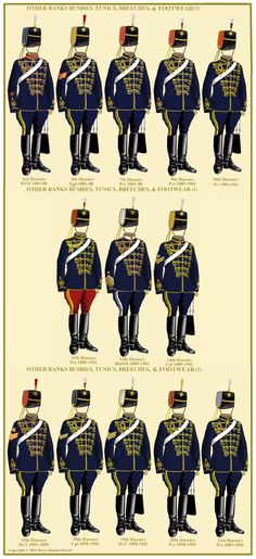 British Hussars of the 3rd, 4th, 7th, 8th, 10th, 11th, 13th, 14th, 15th, 18th, 19th, 20th, and 21st Hussar Regiments