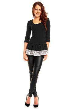Czarna tunika z ozdobną koronką na dole Leather Pants, Fashion, Leather Jogger Pants, Moda, Fashion Styles, Lederhosen, Leather Leggings, Fashion Illustrations