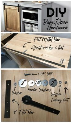 make your own barn door fittings out of slices! Tutorial with offer list of ANA - make your own barn door fittings out of slices! Tutorial with supply list of ANA … – Projectgar - Ana White, Ideas Armario, Diy Barn Door Hardware, Diy Barn Door Plans, Barn Door Decor, Bathroom Barn Door, Home Hardware, Door Fittings, Tips & Tricks