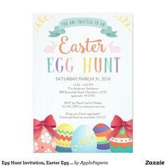 Egg Hunt Invitation, Easter Egg Hunt Invitation, easter egg hunt, egg hunt, easter, easter party, easter lunch, easter dinner, easter celebration, happy easter, chalkboard, easter egg, ideas, 5x7 Paper Invitation Card