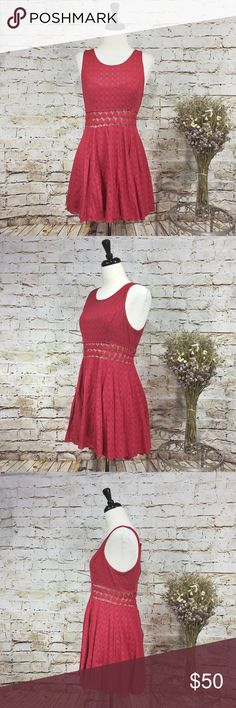 """Free People Sleeveless Lacy Fucsia Dress Size 8 Free People Sleeveless Lacy Fucsia Dress Size 8. Beautiful dress perfect for the summer. Hint of stretch. Hook-and-eye zippered closure on back. See through mid-drift and bodice. The bodice is lined on the chest area. Skirt is fully lined. Material: 8@% Cotton, 20% nylon. Lining: 100% rayon. Approximate measurements (measured flat): bust: 17"""", waist: 14, length: 32"""".  Excellent used condition. No signs of wear. Free People Dresses"""