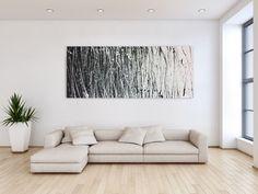 Abstraktes Acrylbild schwarz weiß modern 80x200cm von xxl-art.de