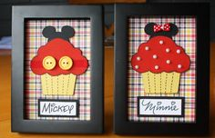 Mickey & Minnie Cupcake Home Decor Frames