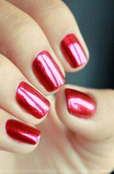 Classic red nails, they never go out of style.