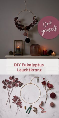 Eucalyptus in wreath DIY in two variants Fast, simple and beautiful: a cr .- Eucalyptus in wreath DIY in two variants Fast, simple and beautiful: one wreath, two styles. Bring your Scandi look home with the trendy eucalyptus wreath. Homemade Wall Decorations, Christmas Decorations, Couronne Diy, Diy Wreath, Wreaths, Diy Girlande, Eucalyptus Wreath, Diy Crown, Creative Gifts