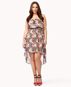 Abstract Floral Print High-Low Dress | FOREVER21 PLUS - 2034444041