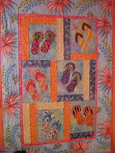 0479330c00413b Make This Paradise Island Flip Flops Wall Quilt. Beautiful batik fabric  wall quilt with flip flops in the sand. Best part is putting beads on the flip  flops