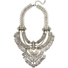 Renvy Women's Chain Statement Necklace - Silver ($29) ❤ liked on Polyvore featuring jewelry, necklaces, silver, silver jewelry, silver jewellery, long chain necklace, long necklaces and silver bib necklace