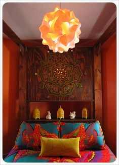 Bohemian Bedroom. Beautiful headboard, gorgeous colors! Probably won't do this, but the colors are so pretty.