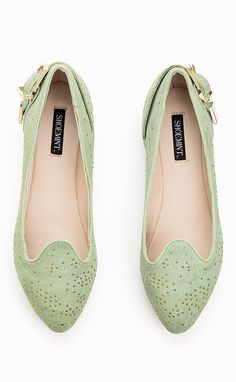 Mint Ballet Flats ~❥ love the color & cute details!