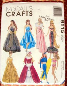 Free Printable Doll Clothes Patterns | Barbie Doll Clothes Mermaid, Christmas Vintage Sewing Pattern McCall's ...