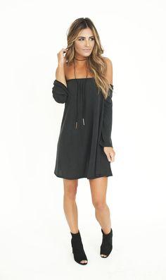 Deep Charcoal Off The Shoulder Tunic - Dottie Couture Boutique
