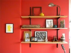 Decorating, Cute Decorative Wall Shelves For Young Bedroom Decor With Orange Wall Paint Ideas And Lights: Decorative Wall Shelves that…