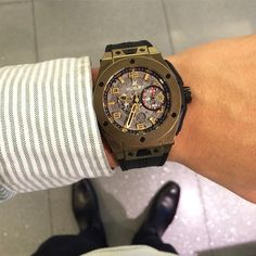 """""""The @Hublot Unico Ferrai on my wrist! One of the first watches to be made in scratch-resistant gold or as Hublot calls it """"Magic Gold"""" (A mix between gold…"""""""