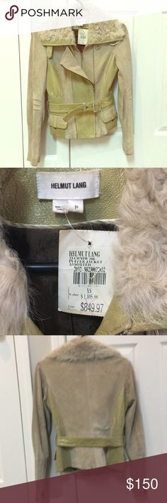 Helmet Lang Jacket I am so sad to part with this piece. I bought it for a good deal hoping I could fit into it but never could. It has so much awesome detail. Rabbit fur collar, suede, light green leather. It does have some marks here and there, everything is in the photos. Helmut Lang Jackets & Coats