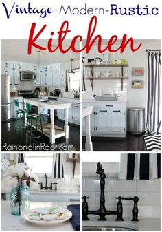 GORGEOUS KITCHEN! This renovated rancher kitchen contains vintage, modern, and rustic elements. And somehow, it all works together. via RainonaTinRoof.com