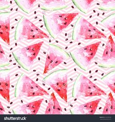 Exotic Summer Watercolor Seamless Pattern With Slices Of Watermelon, Natural Pattern On White Background, Summer Tropical Illustration.Raster Summer Design.Watercolor Hand Drawing.Fresh Organic Food. - 419229238 : Shutterstock