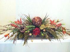 Extra-Long Wall Unit Floral Arrangement - Silk Floral Arrangement by Greatwood Floral Designs.