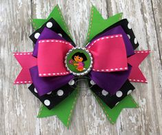 Dora the Explorer Over the Top Hair Bow by SkyLynnClips on Etsy, $8.00
